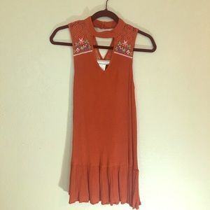 Flying tomato rust color dress with embroidery S